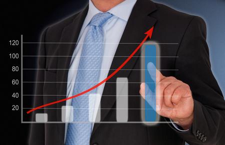 marketingplan: Business and Sales Performance Uptake Stock Photo