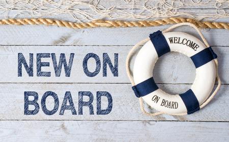 bienvenida: Nuevo a bordo - Bienvenido Foto de archivo