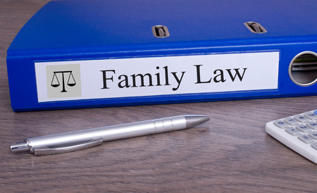 settlements: Family Law blue binder in the office Stock Photo