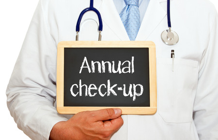 asthma: Annual check-up - doctor with chalkboard