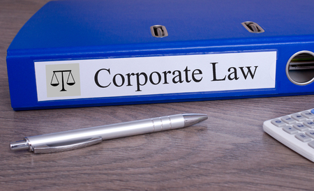 Corporate Law blue binder in the office