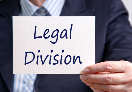 division: Legal Division - Manager with white sign and text
