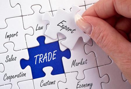 transfer pricing: Trade Business Jigsaw Stock Photo