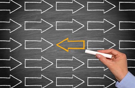 business change: Change Direction - Management Business Concept