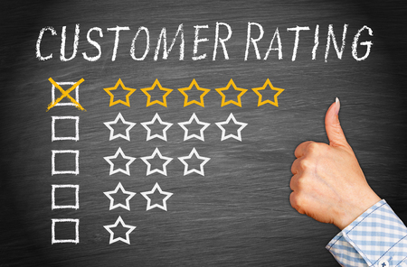 five stars: Customer Rating Five Stars Stock Photo