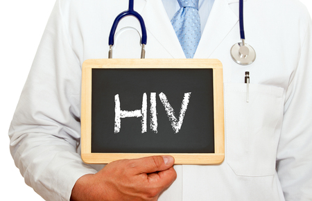 immunodeficiency: Medical Doctor with HIV chalkboard