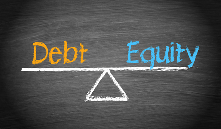 equity: Debt and Equity Balance Concept Stock Photo