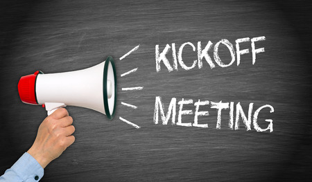 Kickoff Meeting - Megafono con testo Archivio Fotografico - 70809109