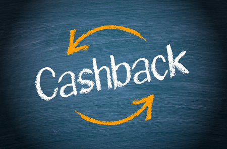 customer: Cashback Service - text with arrows on blue background Stock Photo