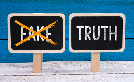 disinformation: The truth - no fake - little chalkboards with text