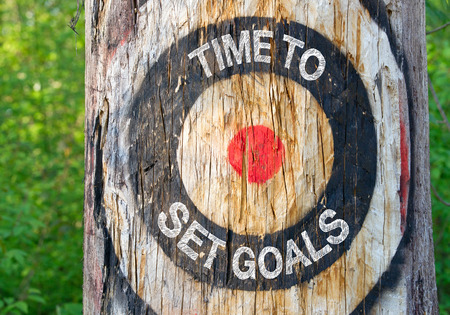 Time to set Goals - tree with target and text Stock Photo