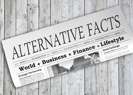 disinformation: Alternative Facts Newspaper on wooden background