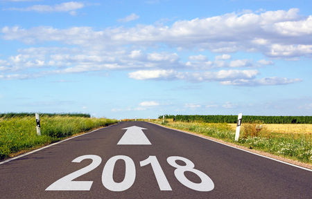 2018 - street with arrow and year Stock Photo