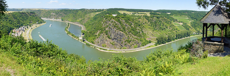 Rhine river in germany with lorelei rock