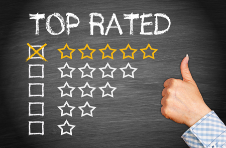 Top Rated - five stars with thumb up