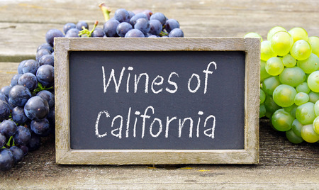 Wines of California - chalkboard with wine grapes Stock Photo