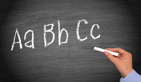 Writing ABC on chalkboard or blackboard