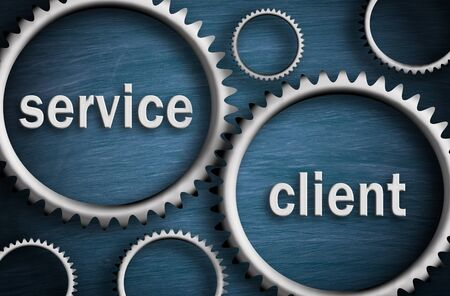 Service and Client - Business cogwheel concept
