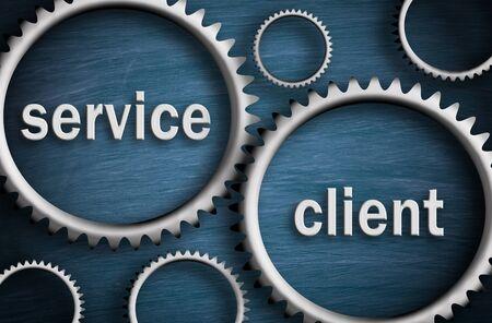 Service and Client - Business cogwheel concept