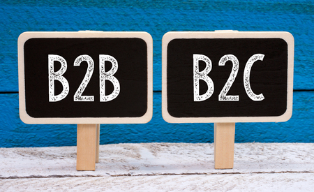 B2B and B2C business - two little chalkboards with text