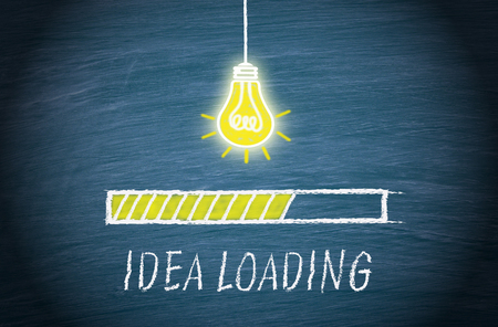 Great Idea loading, light bulb concept with text