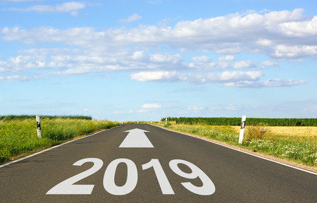 2019 - street with arrow and year - the future Stock Photo