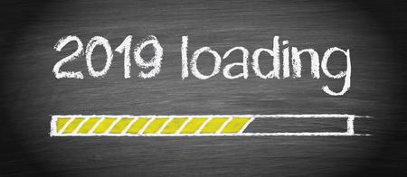 2019 New Year on chalkboard background