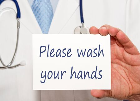 Please wash your hands, medical doctor with sign