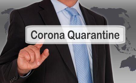Businessman with touchscreen corona quarantine Standard-Bild