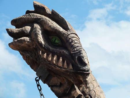 Wooden sculpture of a dragon