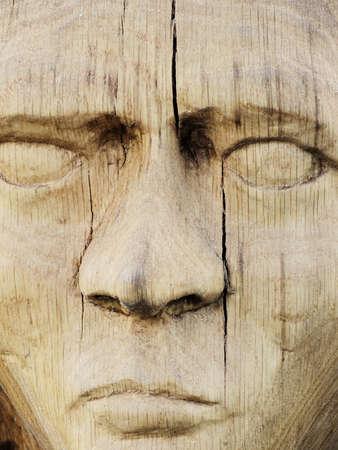 Wooden sculpture of a woman