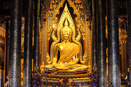 respectful: Phitsanulok, Thailand - June 15 : I took image of Buddha - Phaphutthachinnarat on  June,15 2014 in Phitsanulok, Thailand.Thai people are respectful for this image of buddha.