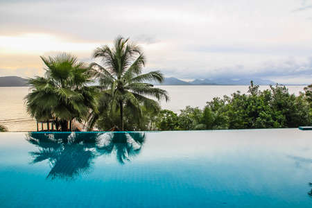 view on sea: Nice sea view from pool Stock Photo