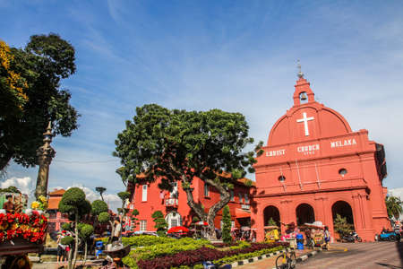 blue church: Christ Church Melaka in Malaysia Stock Photo