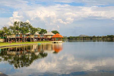 Resort reflection around the lake