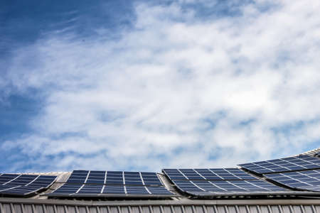 renewable energy resources: Solar cell and blue sky
