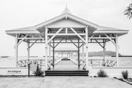 Black and white of Classic bridge  in Thailand