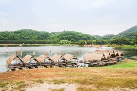 Wooden raft and reservoir in Thailand