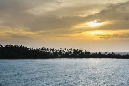 Sunset and coconut island 版權商用圖片