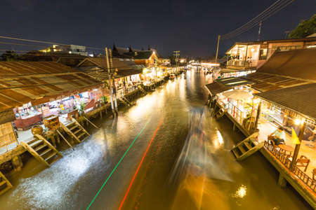 Night scene at Floating market in Thailand