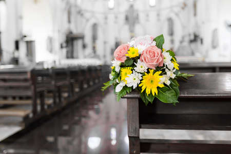 church flower: Flower bouquet in the Christ church Stock Photo