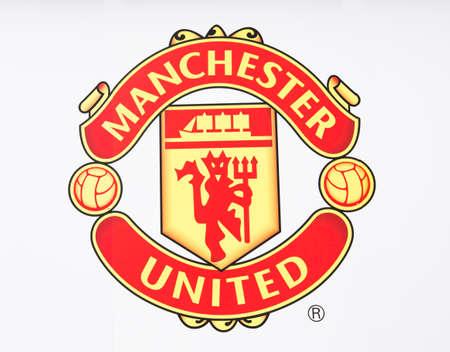 Manchester, Engeland - 27 februari 2016: Manchester United FC Badge. Genomen in Manchester, Engeland. Redactioneel