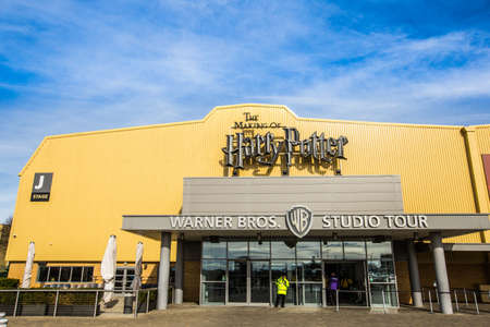 harry: Leavesden, London - March 3 2016: The entrance to the Warner Brothers Studio tour The making of Harry Potter. A behind the scenes look at props, costumes and sets from all 8 Harry Potter films. The films based on the best selling series of books by the  Editorial
