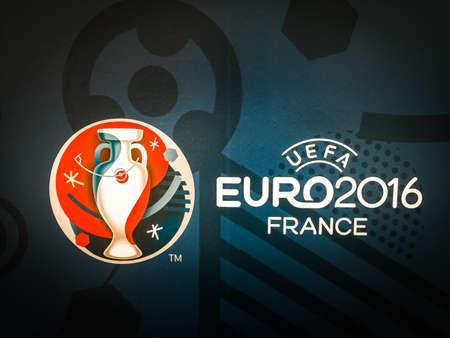 Bangkok, Thailand - April 23, 2016: Official logo of the 2016 UEFA European Championship in France on billboard. 新聞圖片