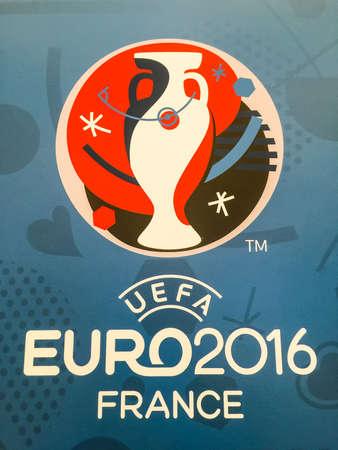 european championship: Bangkok, Thailand - April 23, 2016: Official logo of the 2016 UEFA European Championship in France on billboard. Editorial