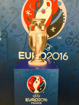 Bangkok, Thailand - April 23, 2016: Model of champion cup for  the 2016 UEFA European Championship in France. 新聞圖片