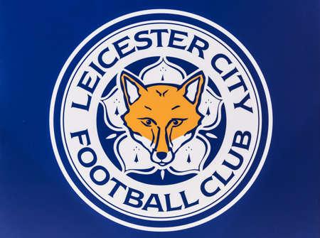 BANGKOK, THAILAND -April 24, 2016: the logo of Leicester City football club on the billboard. 版權商用圖片 - 55837630
