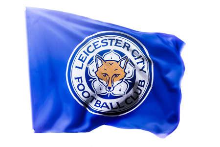 BANGKOK, THAILAND -April 24, 2016: the logo of Leicester City football club on the flag.