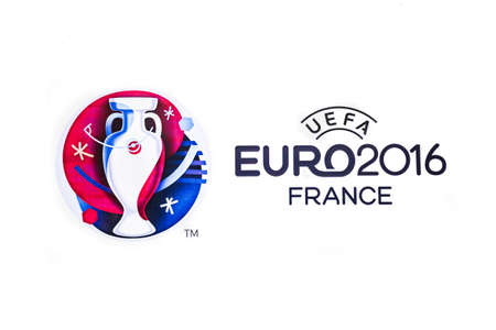 Bangkok, Thailand - May 7, 2016: Official logo of the 2016 UEFA European Championship in France printed on white paper