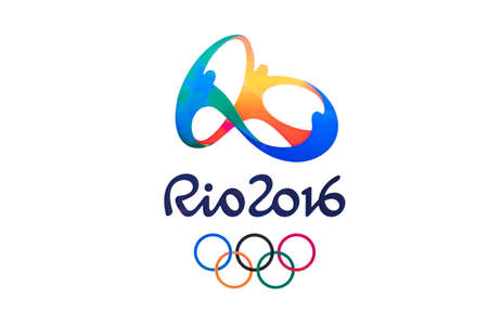 deportes olimpicos: Bangkok, Tailandia - 7 may, 2016: Logotipo oficial de los Juegos Ol�mpicos de 2016 de verano en R�o de Janeiro, Brasil, del 5 de agosto a la 21 de de agosto de, 2016, impreso en papel.